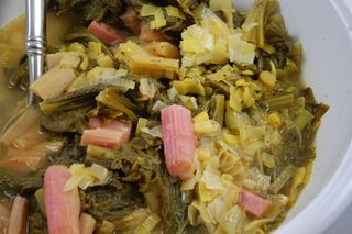 Mustard greens with Rhubarb 1