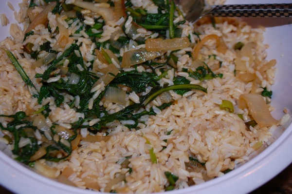 Rice with Turnip Greens 3