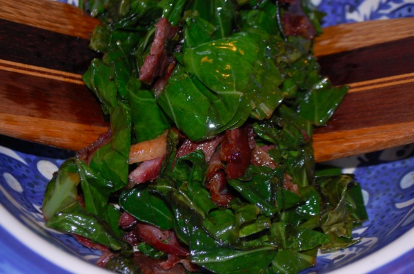 Greens with Red Onions 1
