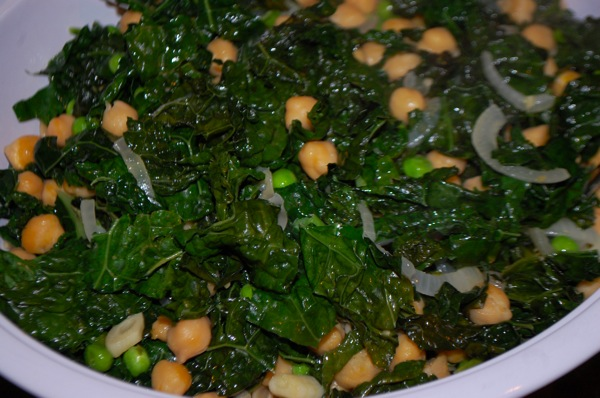 Chickpeas and Greens with Peas and Pasta 2