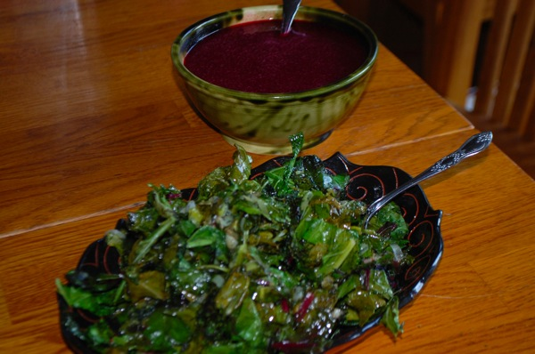 Greens with Plum Sauce 1