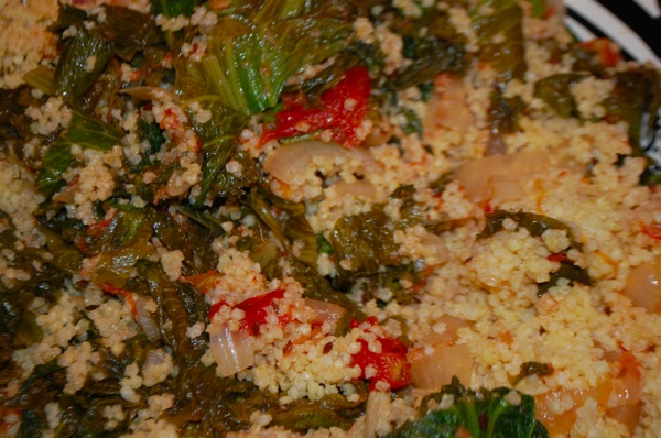 Mustard Greens with Millet and Tomatoes 2