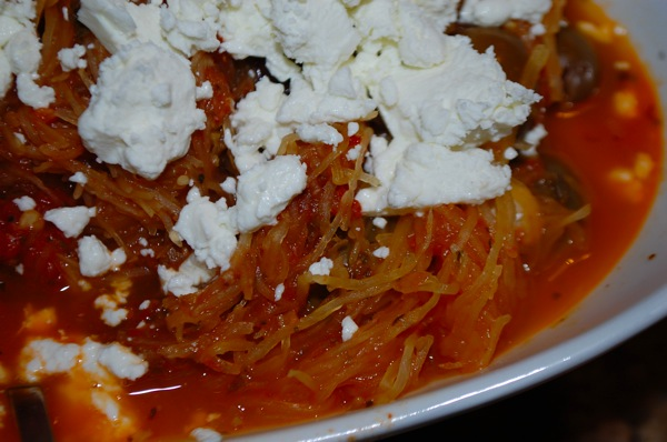 Spaghetti Squash with Tomatoes and Olives 4